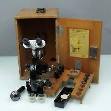 Carl Zeiss Jena binokulares microscopio (318894) con accessori + cassetta legno (170314)