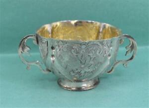 Antique early English continental Silver parcel gilt Cup Repousse Decoration