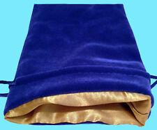 BLUE VELVET & LUXURY SATIN GOLD Lining DICE BAG NEW 6x8 Storage Pouch MDG Silk