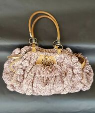 Rare Juicy Couture Purple & Pink Knit Hobo Bag / Satchel / Purse, Pewter