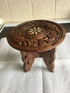 Vintage Anglo-Indian Inlaid Carved Wooden 15cm Miniature Folding Table