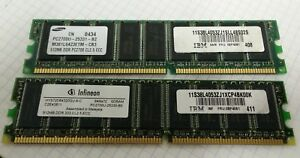 2x IBM 06P4061 38L4053 512MB PC2700 CL2.5 ECC DDR SDRAM Memory Modules FREE SHIP