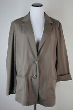 J JILL XL Green Khaki Brown Light Layering Jacket Soft Texture Cotton Stretch
