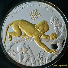2016 - NIUE $8.00  Year of the Monkey - 5 OZ. SILVER with Gold Gilding, only 500