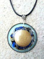 necklace Orgone Orgonite pendant half sphere Lapislazzuli, protection, energy.