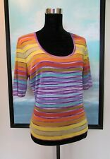 MISSONI Italy Short Sleeve Knit Stripe Top M/L