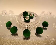 Kit 8 Velvet Fabric Covered Buttons Deep Green ENGLAND Metal silver size 15mm.