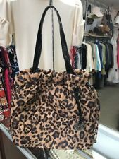 Michael Kors Quilted Tote Patent Leather MK Logo Fob Nylon Leopard Print