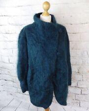 Vintage teal lined chunky shaggy mohair boho cardigan coatigan oversized 16 18