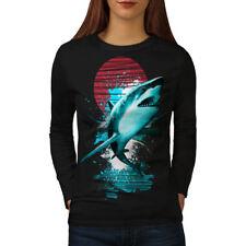 Wellcoda Great White Shark Womens Long Sleeve T-shirt, Ocean Hunt Casual Design