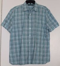 Men's Perry Ellis Short Sleeve Button Up Plaid Shirt Size L