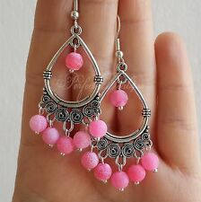 925 Sterling Silver Hook PINK matte Agate stone Cute Chandelier Earrings