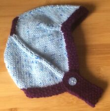 HAND KNITTED BABY HAT / HELMET - BIRTH TO 3 MONTHS - BLUE AND PURPLE - NEW