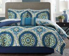 Cal King Size Teal Blue Green Medallion 9-Pc Bed in Bag Sheets Comforter Bed Set