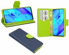 Cuero De La PU Funda Protectora Accesorio Cartera para Huawei Nova 5T Azul-Verde