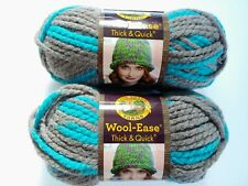New listing Lion Brand Wool Ease Thick and Quick Yarn Blue Jay Lot of 2 Gray