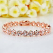 Rose Gold Plated 7mm Cubic Zirconia Tennis Bracelet Round CZ for Christmas Gifts