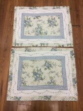 FLORAL SHAMS SET OF 2 QUILTED STANDARD SIZE ROSES CHECKS BLUE WHITE BEIGE