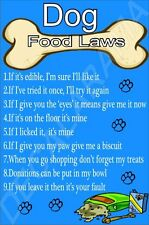 DOG FOOD LAW - IT'S MINE! Dog Breed Laminated Sign (L-Y) Novelty Gift/Present