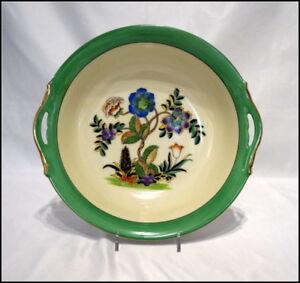 Noritake Art Deco Large 2 Handle Bowl with Deco Floral Design Gold Trim N349