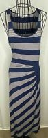 Ladies MAX STUDIO MAX MARA Blue White Striped Long Maxi Dress Medium 12 14