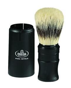 Omega Sterilized Pure Bristle Travel Shaving Brush