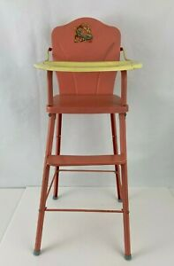"Vintage 1950's Amsco Doll-E-Highchair Metal High Chair Tray Pink  29"" High Doll"