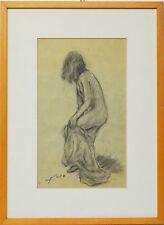 Zeichnung Gildo Foco Frauenakt Frau Akt 1950 Sammlung Karl Schott 49 x 36 cm