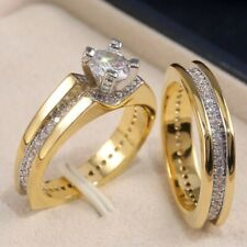 6mm Round Cut Diamond Matching Band Antique Engagement Ring 14K Yellow Gold Over