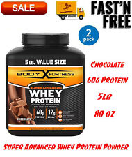 (2 Pack) Super Advanced Whey Protein Powder, Chocolate, 60g Protein, 5lb, 80oz