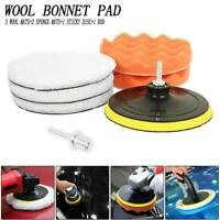 7pc Polishing Buffer Waxing Pads With Drill Adapter For Car Polisher Wool Bonnet