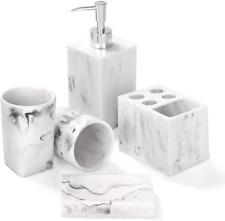 Bathroom Accessories Set, 5 Piece Marble Complete Bathroom Set for Bath Decor