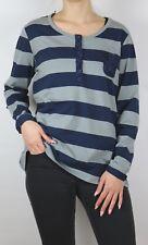 Damen Langarm Shirt mit Spitze in grau blau gestreift Größe 40 bis 54 neu 63754