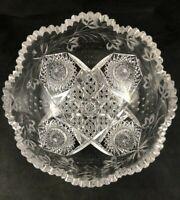 "🟢 Antique ABP American Brilliant Cut Glass CURRANTS Pattern 9"" Deep Bowl"