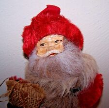 10 in Vintage Santa Celluloid Face with Pipe Cleaner Arms & Legs + Fur Body