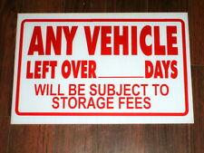 Auto Repair Shop Sign: Vehicle Storage Fee