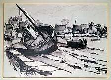 bateaux en bretonischem hafen. ORIGINAL autographié Zeichung, monogrammé SM70