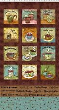 "COFFEE HOUSE Quilt Fabric Panel 23.5"" x 43"" Clothworks & Sue Zipkin #Y1887-15"