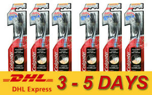 6 x Colgate Slim Soft Charcoal Spiral Bristles Toothbrush Anti-bacterial Soft