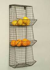 General Store Wall Bin Hanging Shelf Basket Rustic Wire Primitive Farmhouse