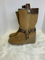 Cole Haan Suede Leather Winter Boots Women's Size 9B Faux Shearling Lining Beige