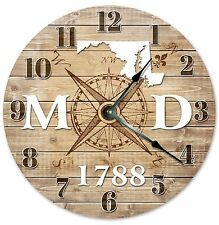 MARYLAND Established in 1788 COMPASS CLOCK Large 10.5 inch Wall Clock
