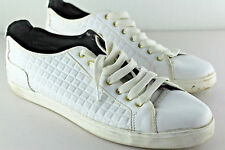 ZARA Man White Quilted Leather Trainer Sneakers Portugal Sz EU 45 US 12