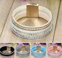 New Fashion Leather Wrap Wristband Cuff Punk Crystal Magnetic Bracelet Bangle H