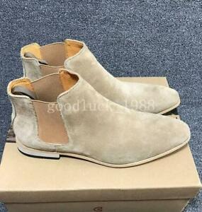 CHELSEA Men's Suede Leather Pull On Ankle Boots High Top Shoes Flats US6.5-12