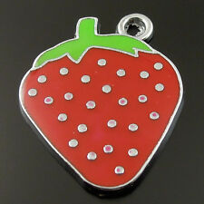 20pcs Rhodium Plated Red Strawberry Cute Cartoon Enamel Pendant Findings Charm