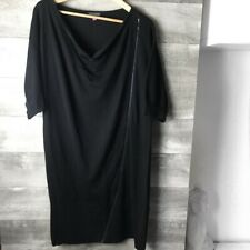 Vince Camuto womens knit draped neck slouchy zipper black sweater dress size: 8