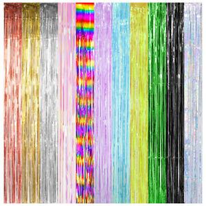 1x Foil Metallic Tinsel Fringe Curtain Door Room Backdrop Party Decorations