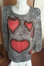 Joe Browns Black / White Jumper with Pink Hearts Size 12 Chunky cosy warm jumper