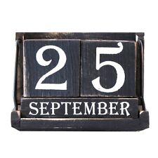 Vintage Wood Block Perpetual Calendar Reusable Wooden Desktop Office Desk Decor